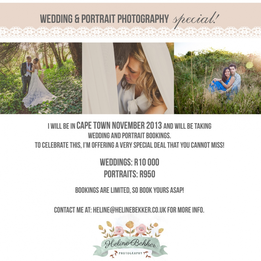 Wedding Photographer Cape Town Special Offer